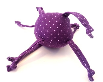 Unique Baby toy - Soft ball with strings -purple with small white dots