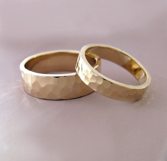 14k Gold Wedding Ring Set of Two Hand Hammered Recycled Gold