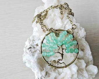 Tree of Life Pendant, Green Aventurine, Gemstone Necklace, Antiqued Brass Wire, Gold Chain, Tree Necklace, Gifts under 30