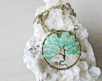 Good Luck Pendant, Aventurine Tree of Life, Bronze Wire Wrapping, Tree Necklace, Gifts for Her, Best Friend Gift
