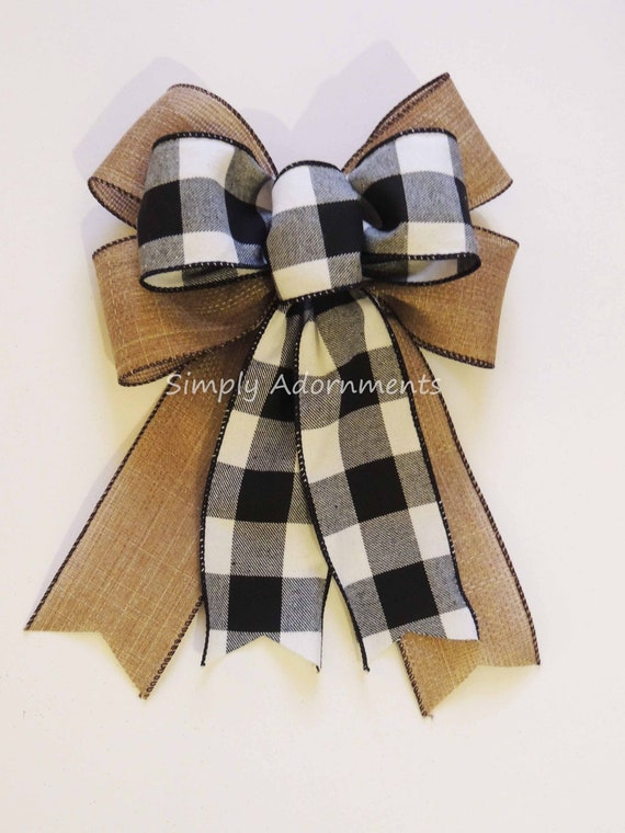Black White Buffalo Plaid Burlap Bow Black White Buffalo Check Christmas Wreath Bow Black White Check Flannel Christmas Bow Cabin Check Bow