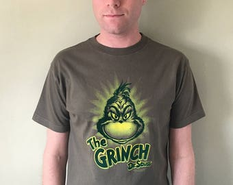 The Grinch - Dr. Seuss Flocked Velvety Graphic Vintage Tee