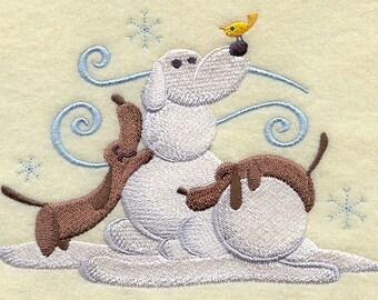 Build a Snowpal Daschund Scene Embroidered Flour Sack Hand/Dish Towel