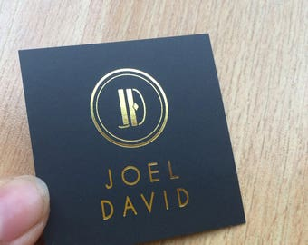 """200 Business Cards or hang tags - Mini Square 2""""x2"""" - 16 PT black matte stock - Metallic foil - choice of gold, silver and more"""