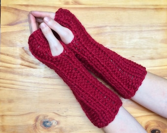 Chunky Knit Wool Arm Warmers Knit Fingerless Gloves || Cranberry