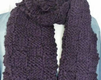 Purple knitting scarf, neck scarf, knitted neck wrap, fashion scarf, winter scarf for women, purple knitted scarves, hand knit scarf.