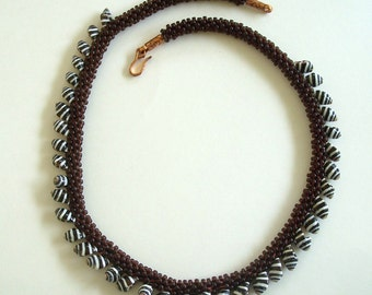 Brown Beaded Kumihimo Rope with Brown and White Striped Seashell Trim by Carol Wilson of Jet'adorn