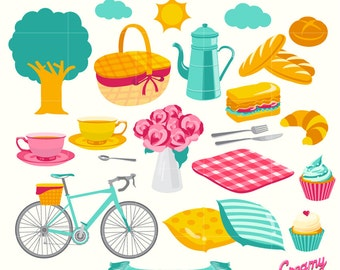 Picnic Digital Clip Art / Family Picnic Party Digital Clipart Design Illustration /Bread, High Tea, Cupcakes, Birthday Party/