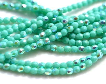 Turquoise AB 3mm Faceted Fire Polish Round Beads  50