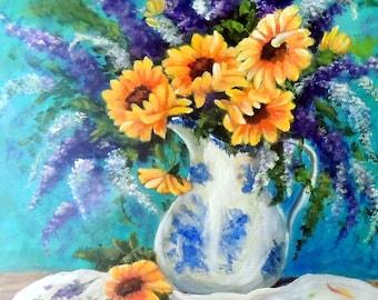 Sonnenblumen und lila Blüten in blau & weiß Vase Stillleben Druck