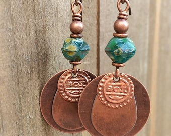 Bohemian Earrings - Dangle Earrings - Drop Earrings - Boho Earrings Dangle, Boho Earrings, Copper Dangle Earrings - Gift for Women