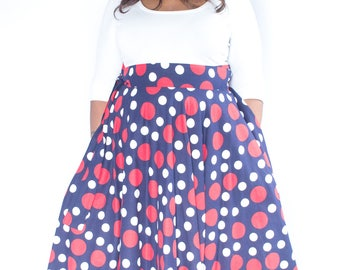 "Plus Size Maxi Skirt Navy Red and White Polka Dot plus size High Waist / plus size  2 - 24 )42"" L"