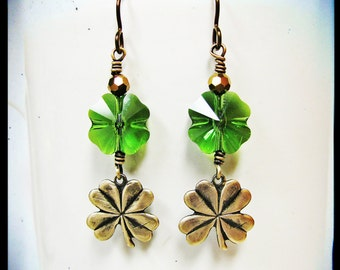 Lucky Clover Earrings. Swarovski Emerald Green Clovers. Antique Golden Clover Charms. Sparkly Gold Crystals