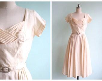 Vintage 1950's Buttercream Silk Dress   Size Small