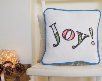 Vintage floral 'joy!' linen cushion | Christmas Joy design cushion with velvet piping and feather insert | Christmas Decoration | Happy gift