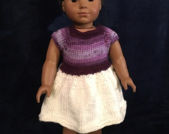 """Purple and White Knitted Dress for 18"""" Doll"""