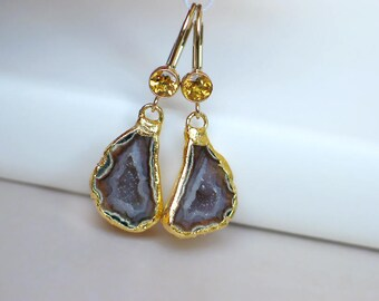 Geode Half Earrings | Pink Maroon Druzy | Golden Citrine Bezel 14k Gold Filled Leverback Dangles | Birthday Gift | Wedding | Ready to Ship