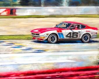 BRE #46 Datsun 240Z Tribute Painting, Art Prints and Canvas Prints, Original Art