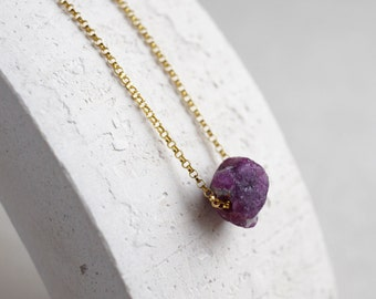 Natural raw Ruby necklace, delicate gold chain, July birthstone, rough stone pendant, minimalist jewelry, pregnancy stone, red gemstone