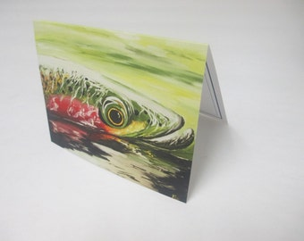 "Catch and Release  Surfacing Trout Card- Blank inside 5.5"" x 4.25"""