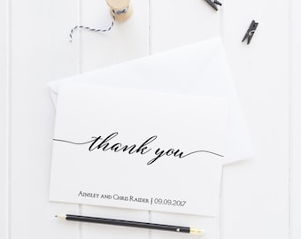 Calligraphy Thank You Card Set, Wedding Thank You Cards, Personalized Cards