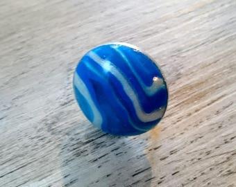 ultramarine blue polymer clay round ring