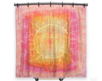 BOHO Shower Curtain, Shower Curtain, Mandala Shower Curtain, Shower Curtains,  Pink Shower