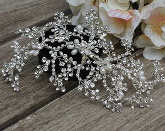 FAST SHIPPING!!! Silver Bridal Hair Comb, Wedding Hair Comb, Crystal Hair Comb, Swarovski Hair Comb, Crystal Headpiece, Bridal Headpiece