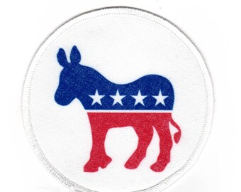 """Clearance Sale: Democratic Donkey Sew-On Patch - 4"""" - FLAWED - 50% OFF! ( in press too long/wrong patch was used )"""