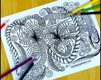 Coloring Page, Joyful Zentangle, Printable