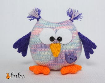 Plush Owl, woodland plush, stuffed owl, softie owl, purple owl, hand knit bird, hand knit toy - Hilda the Owl