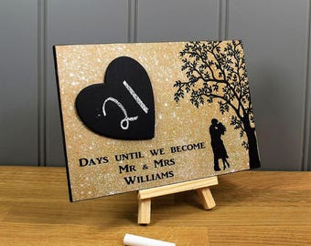PERSONALISED Wedding Countdown Handmade Home Sign/Plaque With Chalkboard Heart - Mr and Mrs Engagement Gift 673gold