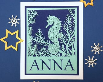 Personalised papercut animal or sea creature print