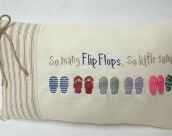 Flip Flop Cross Stitch Mini Accent Pillow Summer Beach Decor