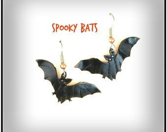 Halloween bat earrings, bat earrings, Halloween jewelry, Halloween costume, Halloween earrings, bat jewelry, Goth bat, spooky bat