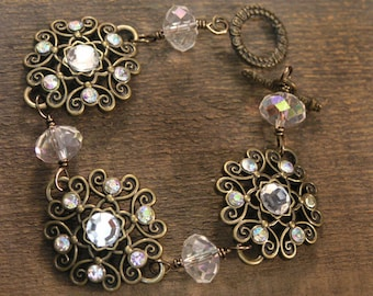 Vintage style antique brass and crystal glass handmade bracelet