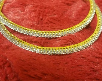 Sterling silver 2pcs  gold plated with  zircon bangals