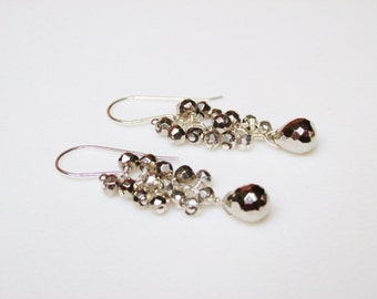 Pyrite Earrings / Wirewrapped / Gem Cluster / Cascade / SHINY / Wedding / Bridal / Bridesmaid / Bridesmaids / Jewelry / Wedding Jewelry