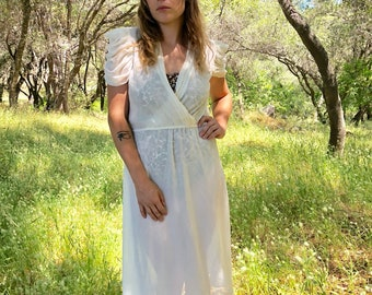 80s White Chiffon Dress With Bunched Sleeves