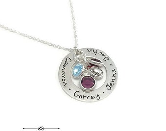 Sterling Silver Washer Necklace Personalized Jewelry for Mom with Birthstones