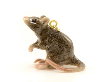 1 - Porcelain Rat Pendant Animal Hand Painted Ceramic Animal Ceramic Brown Rat Vintage Jewelry Supplies Little Critterz (CA091)