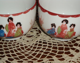 Japanese Hand Painted Geisha Tea Cups!