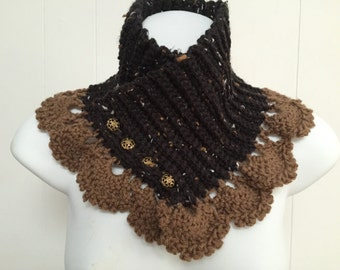 Lacy Crochet Neck Warmer in Black & Brown - Scarf Alternative
