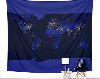 World Map Wall Hanging Tapestry. Map Tapestry. Earth at Night. World Map. TMN02