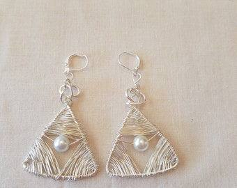 Triangular wire wrapped silver and pearl drop earrings with lever backs
