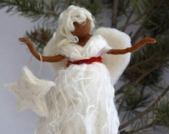 Needle Felted Angel Christmas Tree Topper/Christmas Tree Topper/Christmas Tree Decor/Holiday Angel Tree Topper/Dark Skin Angel
