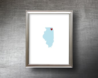 Illinois Art 8x10 - 4 Color Choices - Die Cut Silhouette - Illinois Print - Illinois Wedding Gift - Personalized Text Optional