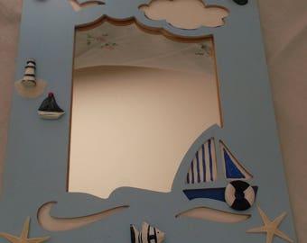 Blue mirror with the sea theme decor