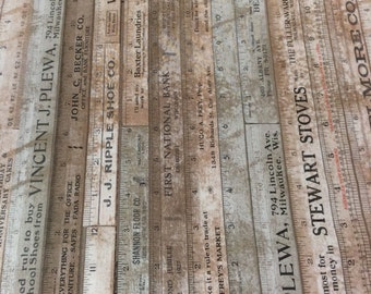 """Electric Elements by Tim Holtz-Light Tan/Brown Rulers """"Foundations""""- One Yard of Continuous cut of Fabric.  Measuring tape fabric"""