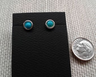 4 MM Sterling Silver Turquoise Post Earrings E-7